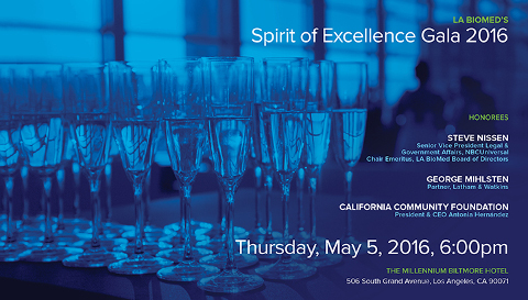 LA BioMed's Spirit of Excellence Gala 2016 Invitation